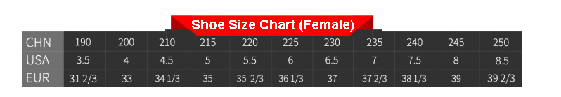 shoe size chart for female